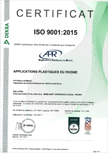 Certification ISO9001 APR Plastique, usinage plastique, thermoformage plastique technique